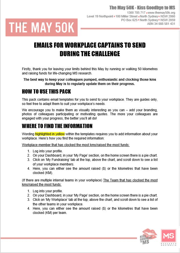 Workplace - Email templates - For Workplace Captains - During Challenge