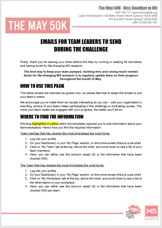 Workplace - Email templates - For Team Leaders - During Challenge