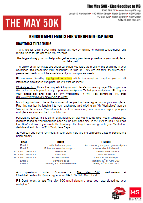 Workplace - Email Templates - Workplace Captains Recruitment